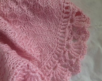Hand Knit Baby Blanket in Honeycomb Pattern with Ruffled lace Crocheted Edge - made to order - many colors