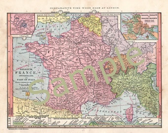 Printable Map of France, Italy, Belgium, Switzerland Instant Digital Download 1880s Color Map