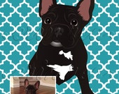 Custom Pet Portrait : Modern Print of YOUR Pet (Pattern shown here is Moroccan)