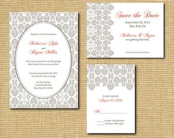 Ornate Lace-Inspired Printable Wedding Suite - Invitation, Save the Date, RSVP Card, Program, Table Number, Escort Card, Menu