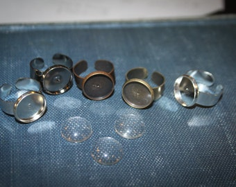 12 Piece DIY Ring Making kit - 6 adjustable Ring bases and 6 Clear Glass Cabochons Lead and Nickel FREE