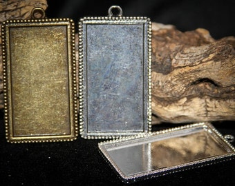 75% off 18 Rectangle-Beaded Edged Antique Pendant Trays blank Bezels Settings 24 x 50 mm Photos Charms