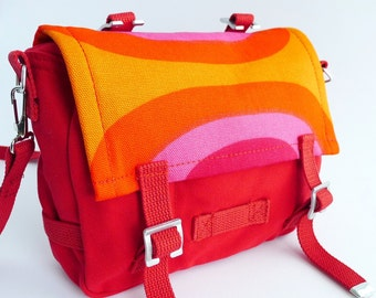 Mini Messenger Bag - Marimekko - Bike Bag - Red Orange Pink Purple