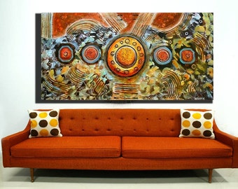 ORIGINAL abstract PAINTING large canvas heavy texture palette knife by HesterPaintings 24x48