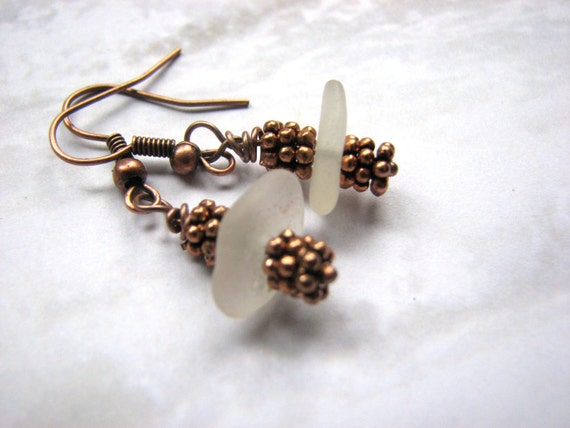 Copper Sea Glass Earrings - Genuine Beach Glass Dangle Earrings, Seaglass Jewelry Rustic Boho Jewelry