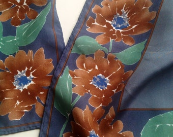 1970s Vintage VERA Neumann Scarf with Grey, Blue and Brown Colours