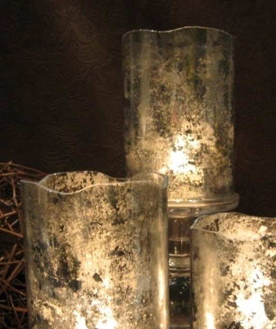 Mercury Glass Hurricane Candle Shade/Holder - Set of 2