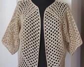stone color sand color sequined glittering crochet bolero jacket cardigan