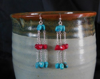 Campitos Turquoise and Coral Long Chain Sterling Silver Earrings - Turquoise Coral Nuggets Earrings with Sterling Silver Chain and Findings