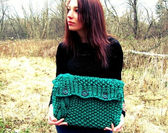 Knitted Laptop Sleeve Computer Cozy Electronic Case Green Cable Knit With Buttons Gadget Accessories Emerald Crochet
