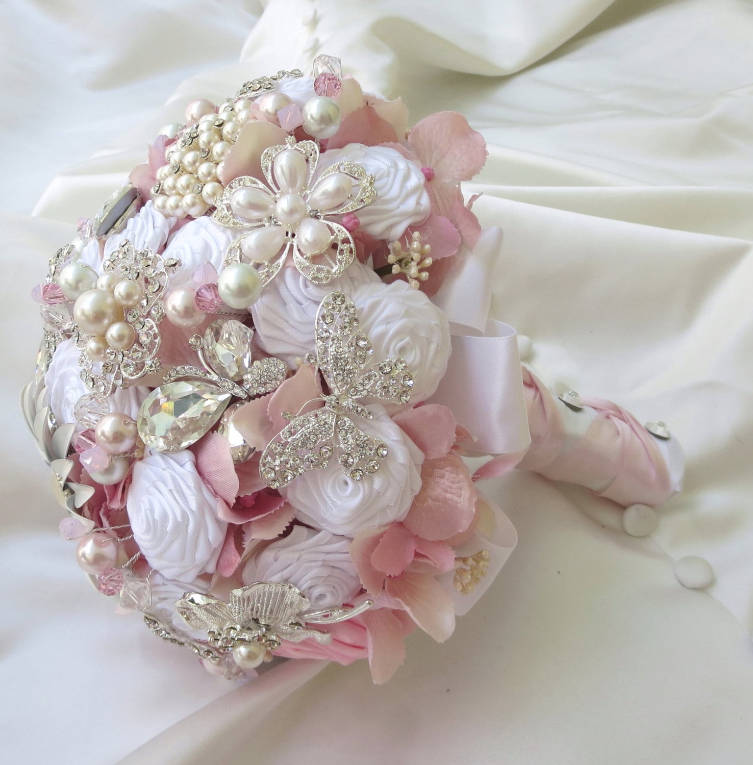 Button Bridal Bouquet Etsy : Bridal brooch bouquet wedding pink by