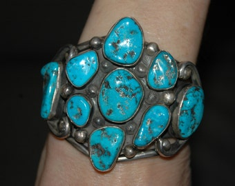 Stunning Huge Old Pawn Navajo Heavy Sterling Morenci Turquoise Bracelet 139 Grams