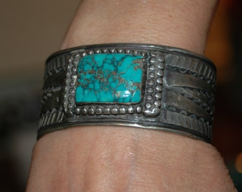 Beautiful Old Navajo Hand Wrought Coin Silver & Royston Turquoise Bracelet 91 Grams