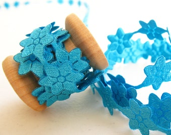 """1yd Turquoise Daisy Flower Lace -1/4"""" width"""
