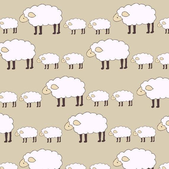 Sheep Parade in Natural Fabric, Locally Grown, by Creative Thursday for Andover Fabrics, Half Yard, 1/2 Yard