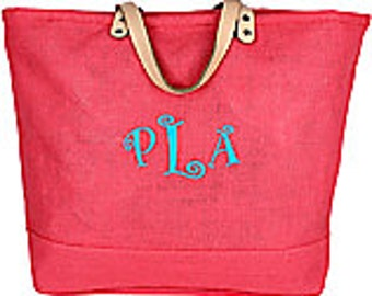 Jute Tote Personalized  with velcro closure and inside pocket in multiple colors