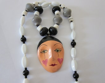 Vintage 80s Harlequin Face Necklace OOAK