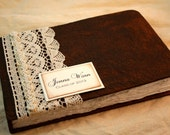 Graduation Guest Book - Graduation gift - class of  2013 - Rustic - Wishes - Vintage Graduation  - Lace, pearls - Personalized Guestbook
