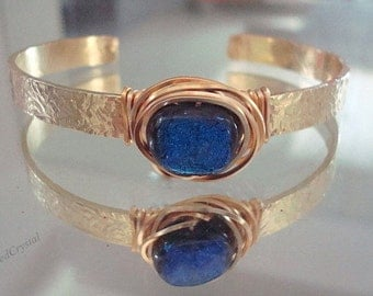 Bracelet -  Brass Cuff -  Diachroic Glass