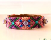 Swarovski Crystal Friendship Bracelet - Bohemian Hippie Gypsy Bracelet-  mix of lavender, green, violet and pink- Boho Chic
