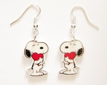 Snoopy Earrings Heart Valentines Day  Earrings Peanuts Gang Earrings