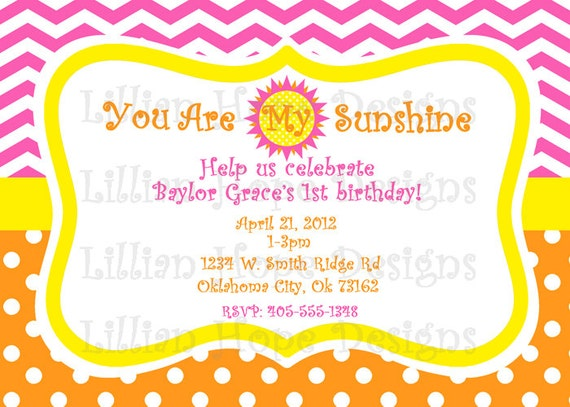 You Are My Sunshine Birthday Party Invitation - PRINTABLE Custom Invitaiton and Thank You Card - Girls Birthday Party