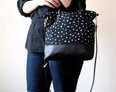 Over Shoulder Cross Body Bag Screen Printed Linen Black Leather Handles