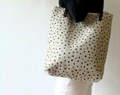 Carryall Tote Shoulder Bag Screen Print Natural Linen Weekender Bag