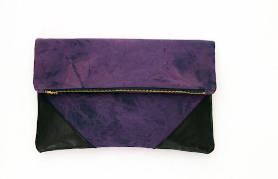 Hand Tie Dyed Fold Over Oversize Clutch Shibori Navy Purple