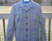 SALE Vintage Plaid Dress and Jacket Green Navy and Cream Sheath Dress Size Large Great Condition