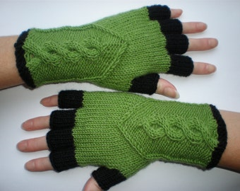 Hand-knitted green and black color women fingerless gloves
