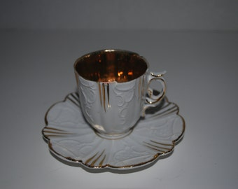 white and gold demitasse cup and saucer  espresso set vintage china