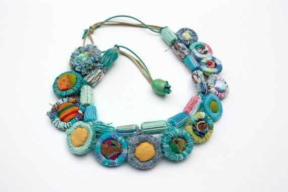 Handmade crochet necklace with bamboo and textile beads OOAK