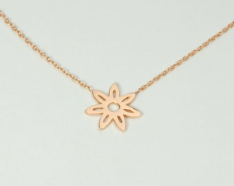 Solid 14K Rose Gold Daisy Necklace
