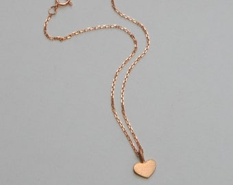 Solid 14k Rose Gold Heart Bracelet