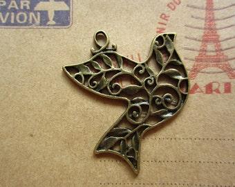10pcs 36x29mm antique bronze bird charms pendant C1441
