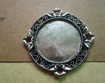 10pcs 25mm antique silver cabochon pendant settings  M27119