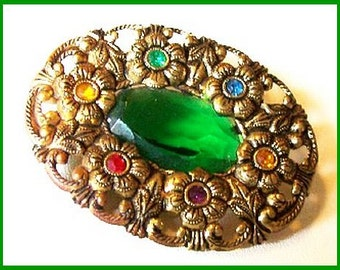 """Czech Brooch Pin Signed Green Art Glass Multi Color Rhinestones Floral Brass 2"""" Vintage"""