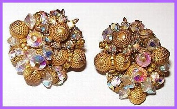 "Vintage Earrings Crystal Gold Beads Signed Alice Caviness Filigree Clip Back Style 1 1/4"" VG"