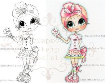 INSTANT DOWNLOAD Digital Digi Stamps Big Eye Big Head Dolls Digi  Fight For A Cure By Sherri Baldy