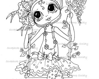 INSTANT DOWNLOAD Digital Digi Stamps Big Eye Big Head Dolls Digi  IMG665 By Sherri Baldy
