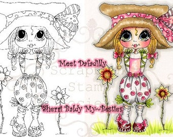 INSTANT DOWNLOAD Digital Digi Stamps Big Eye Big Head Dolls Digi  My Besties Dafadilly By Sherri Baldy