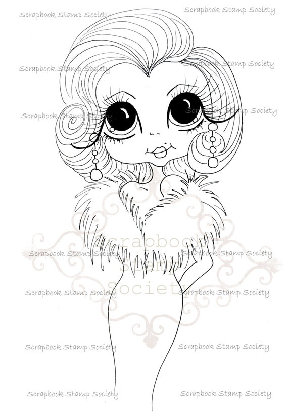 INSTANT DOWNLOAD Digital Digi Stamps Big Eyed  My Bestie Digi Stamp Besties Big Head Dolls Digi IMG764 By Sherri Baldy