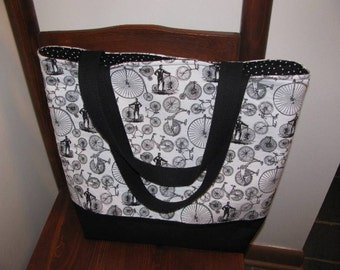 Tote, Market Bag, Bicycles, Library Bag, Travel Tote, Victorian Era, Work Tote, Black and White