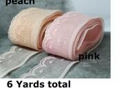 Pink Lace trim, Peach Lace trim, Scalloped lace trim, lace trim, Nylon trim 2cm wide, total 6 Yards No. L2-1/3/103