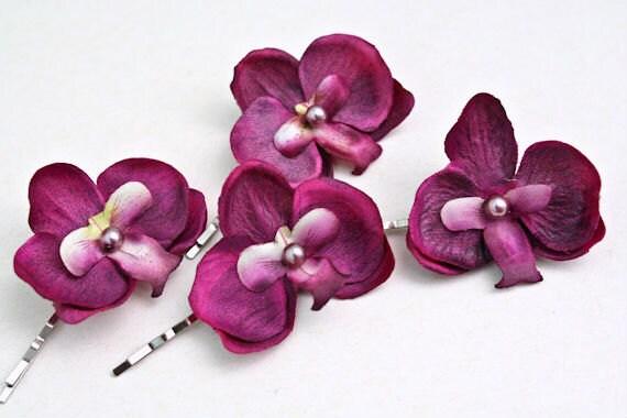 FUSCHIA PURPLE Orchids Hair Pins (set of 4) Small Hair Flower Pins, Purple Violet Hair Accessories, Tropical Beach Wedding, Bridesmaids