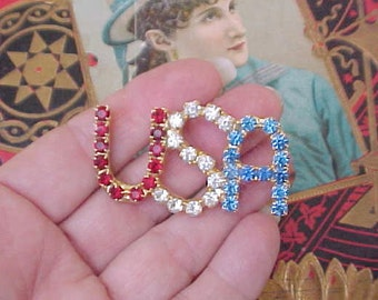 "Pretty Vintage Red, White and Blue Large Rhinestone ""USA"" Brooch"