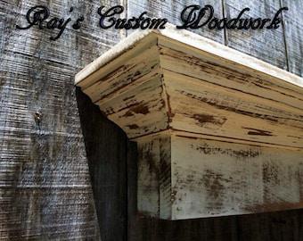 Distressed Wooden wall shelf Shabby Chic Floating Ledge Mantle - The Mistletoe shelf