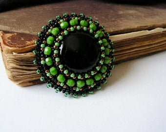 Green Black brooch Bead embroidery brooch Beaded brooch Cabochon brooch Black Onyx brooch Black Green Copper MADE TO ORDER