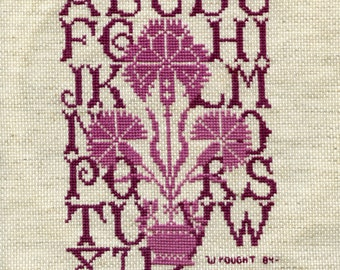 Handmade  Cross Stitch Thistle Sampler done by Lolly in 1991